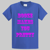 Tall Booze Makes You Pretty T-Shirt With Pink Letters